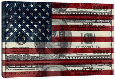 "USA ""Grungy"" Flag (100 Dollar Bill) Canvas Art Print"