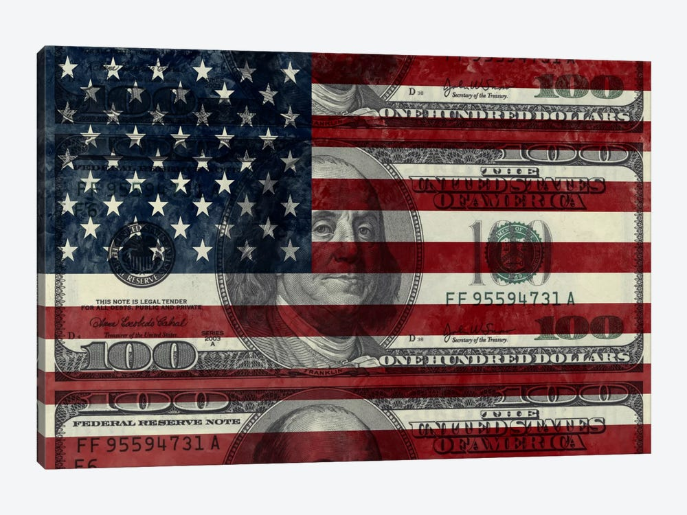"USA ""Grungy"" Flag (100 Dollar Bill) by iCanvas 1-piece Canvas Art"