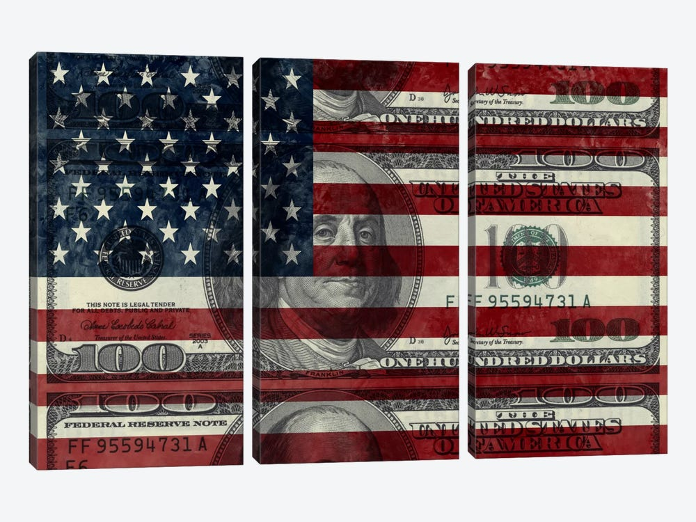 "USA ""Grungy"" Flag (100 Dollar Bill) by iCanvas 3-piece Canvas Art"