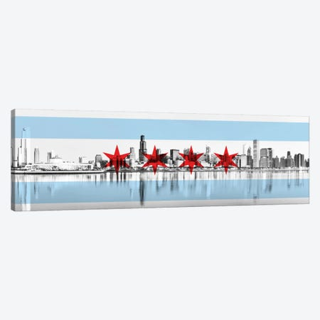Chicago City Flag (Downtown Skyline) Panoramic Canvas Print #FLG30} by iCanvas Canvas Print
