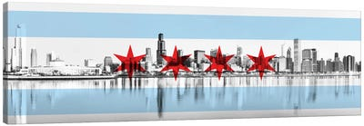 Chicago City Flag (Downtown Skyline) Panoramic Canvas Print #FLG30