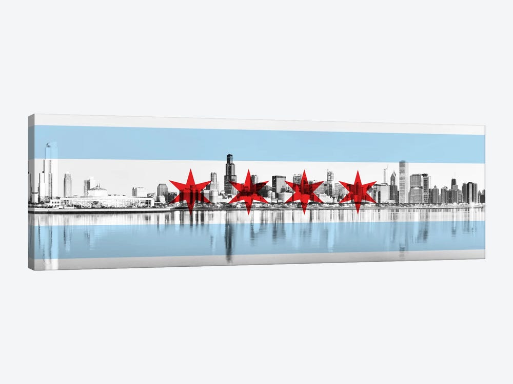Chicago City Flag (Downtown Skyline) Panoramic by iCanvas 1-piece Canvas Print