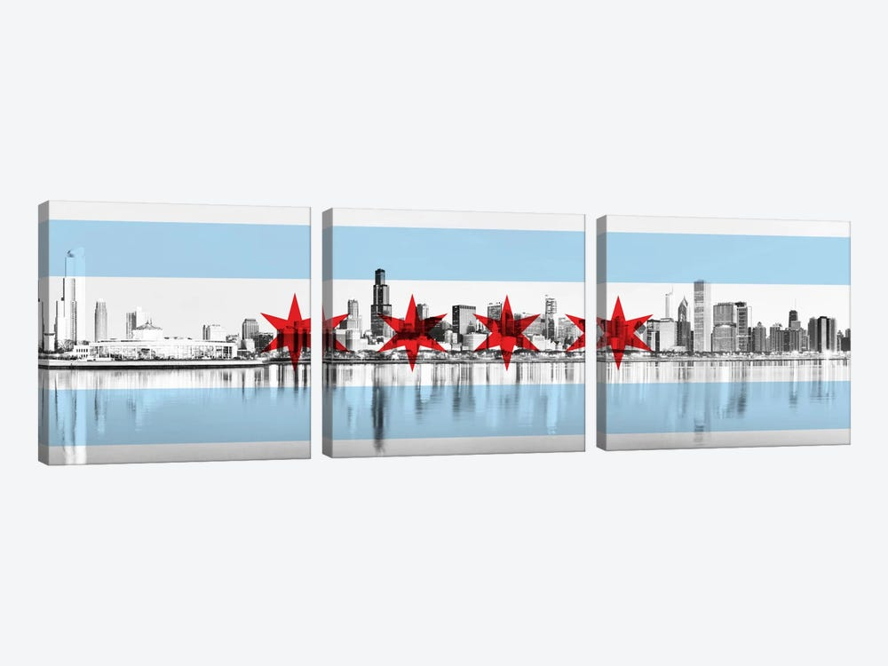 Chicago City Flag (Downtown Skyline) Panoramic by iCanvas 3-piece Canvas Art Print