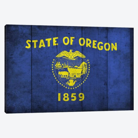 Oregon (Wood Planks) Canvas Print #FLG310} by iCanvas Canvas Art