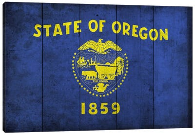 State Flag Grunge Series: Oregon (Wood Planks) Canvas Art Print