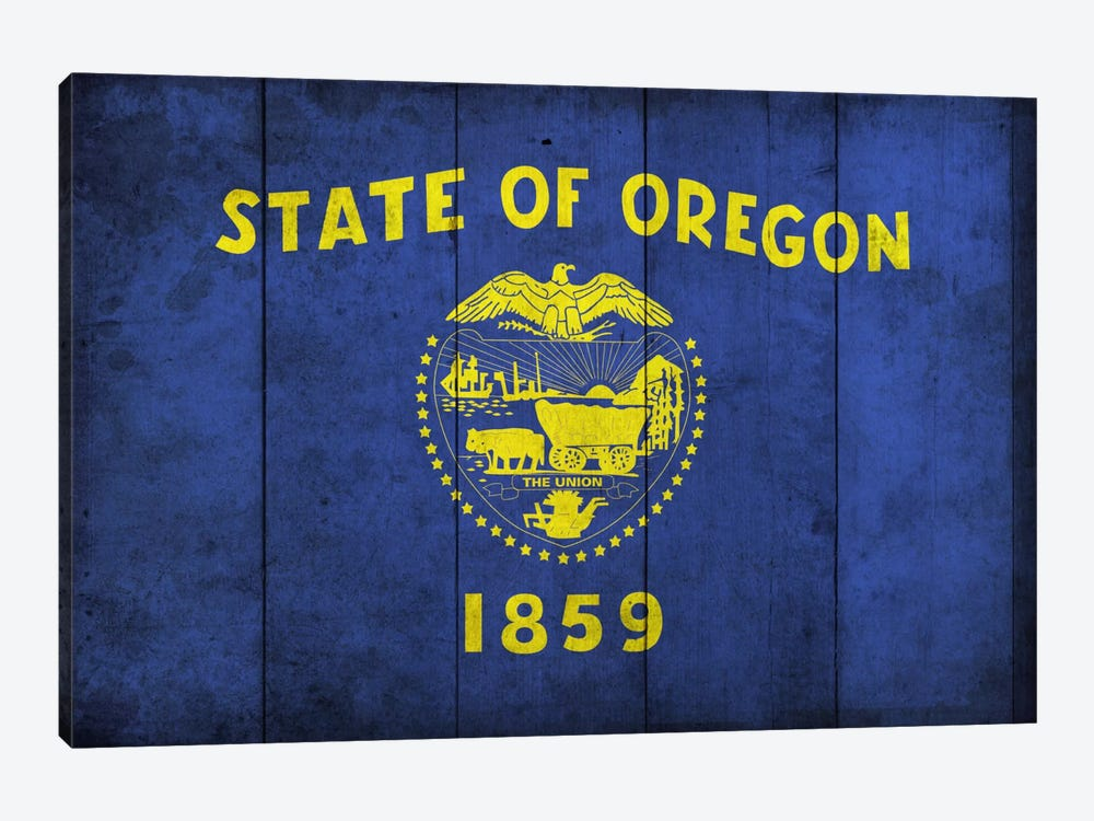 State Flag Grunge Series: Oregon (Wood Planks) by iCanvas 1-piece Canvas Art Print