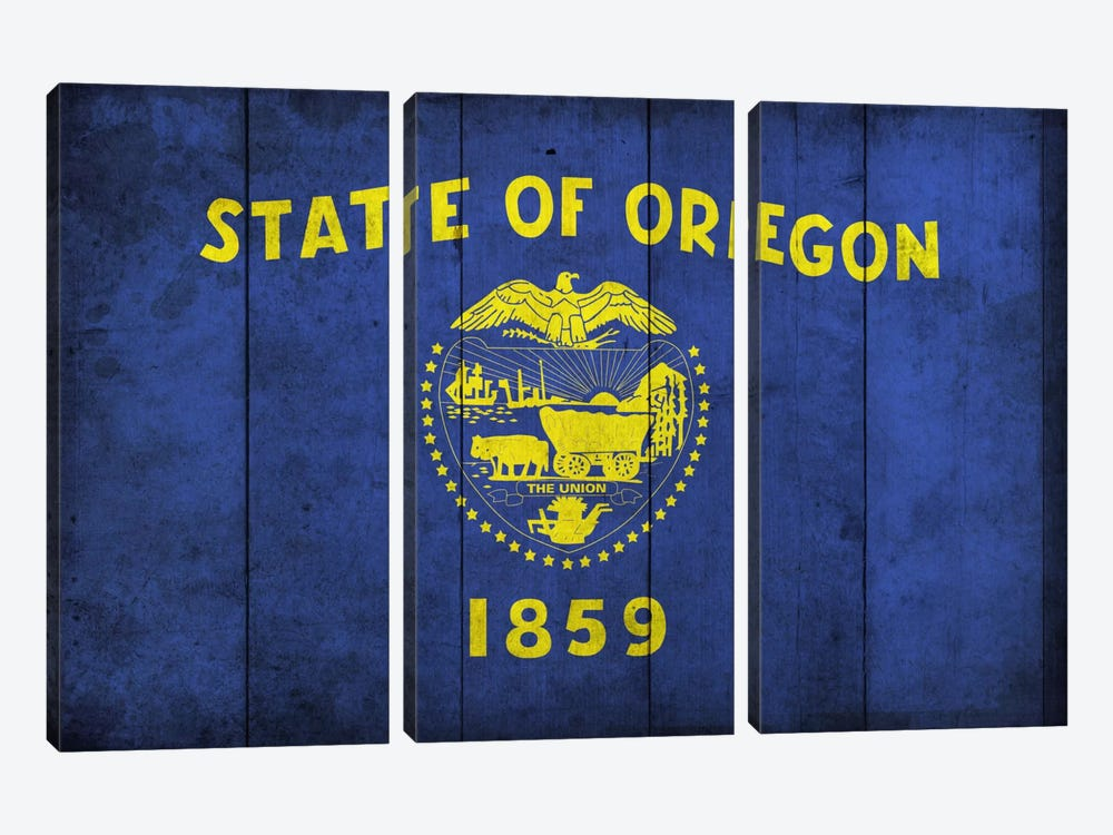 State Flag Grunge Series: Oregon (Wood Planks) 3-piece Canvas Art Print