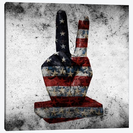 Peace Hand SignUSA Flag Canvas Print #FLG312} by iCanvas Canvas Wall Art