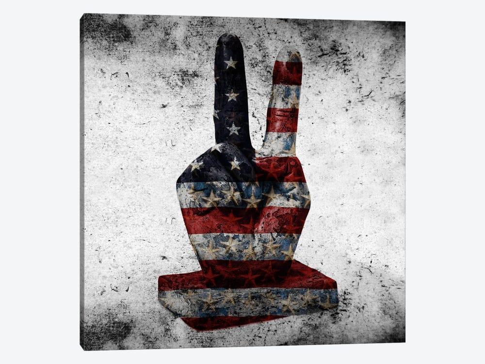 Peace Hand SignUSA Flag by iCanvas 1-piece Art Print