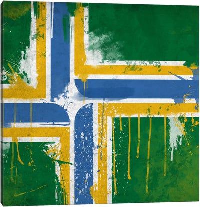 Portland, Oregon Paint Drip City Flag Canvas Print #FLG318