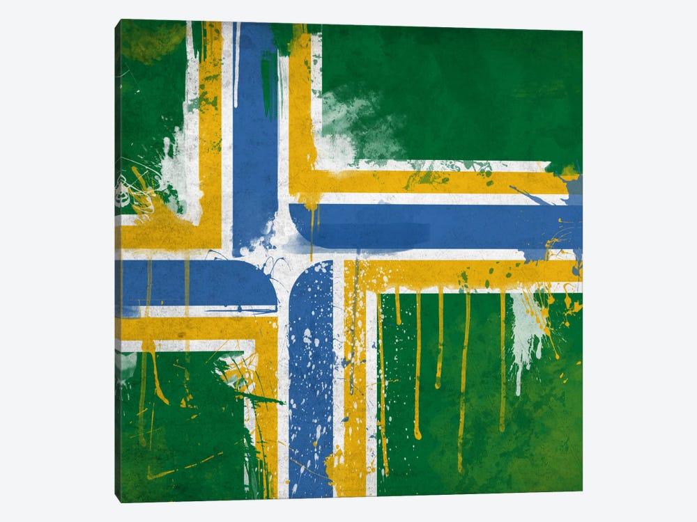 Portland, Oregon Paint Drip City Flag by iCanvas 1-piece Canvas Print