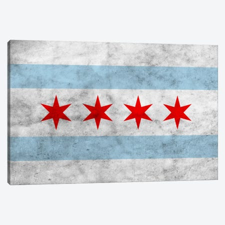 Chicago City Flag (Grunge) Canvas Print #FLG31} by iCanvas Art Print
