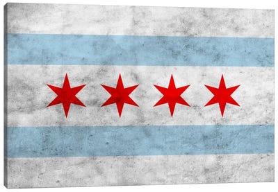 Chicago City Flag (Grunge) Canvas Print #FLG31