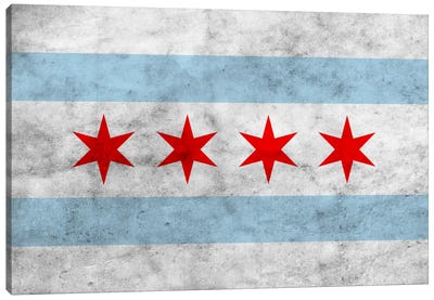Chicago City Flag (Grunge) Canvas Art Print