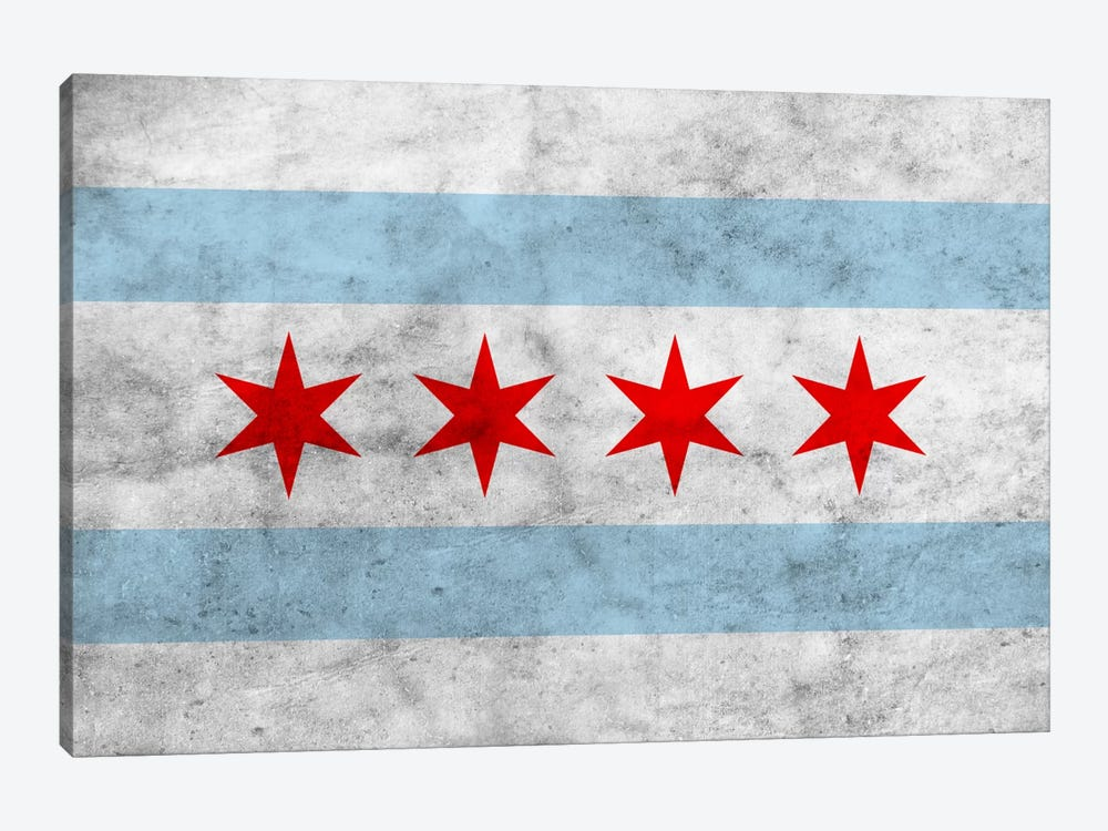 Chicago City Flag (Grunge) 1-piece Canvas Art
