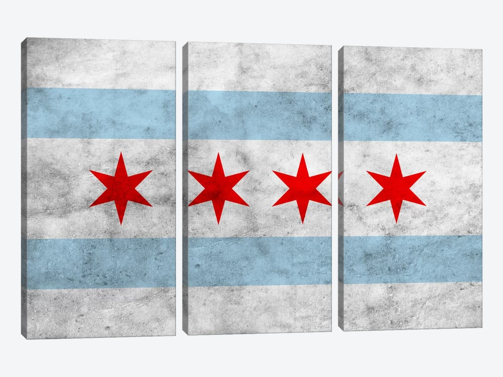 Chicago City Flag (Grunge) 3-piece Canvas Artwork
