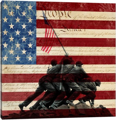 "USA ""Constitution"" Flag (Iwo Jima War Memorial Background) Canvas Art Print"