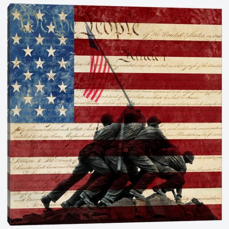 """USA """"Constitution"""" Flag (Iwo Jima War Memorial Background) Canvas Print #FLG325} by iCanvas Canvas Art"""
