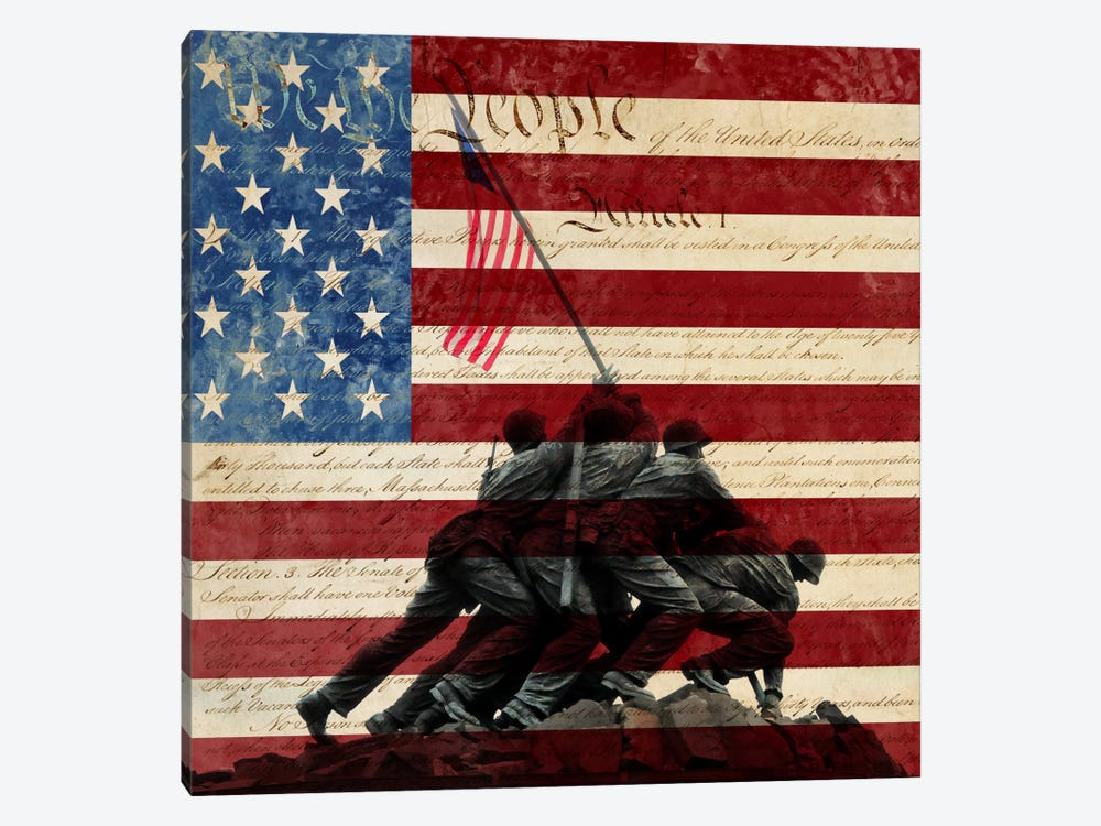 """USA """"Constitution"""" Flag (Iwo Jima War Memorial Background) by iCanvas 1-piece Canvas Print"""