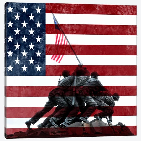 USA Flag (Iwo Jima War Memorial Background) Canvas Print #FLG326} by iCanvas Canvas Art
