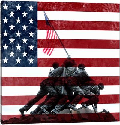 USA Flag (Iwo Jima War Memorial Background) Canvas Art Print