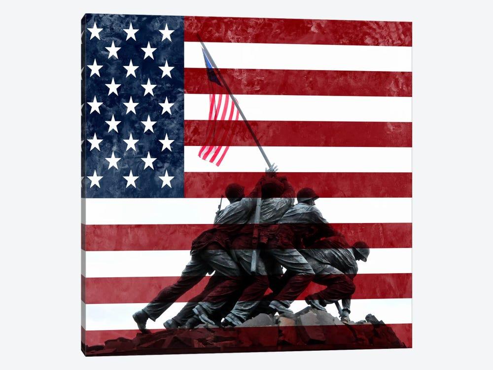 USA Flag (Iwo Jima War Memorial Background) by iCanvas 1-piece Canvas Wall Art