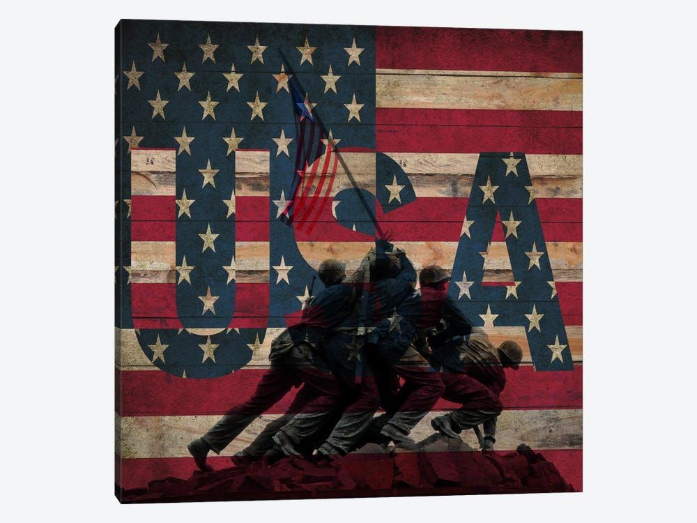 U.S. Marine Corps War Memorial (Iwo Jima Memorial) Flag by iCanvas 1-piece Canvas Print