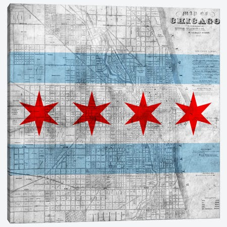 Chicago City Flag (Vintage Map) Canvas Print #FLG32} by iCanvas Canvas Print