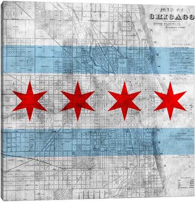 Chicago City Flag (Vintage Map) Canvas Print #FLG32