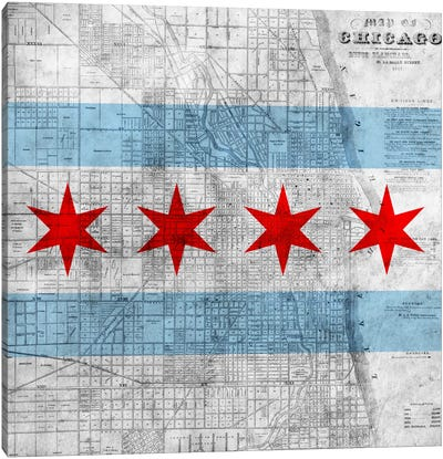 Chicago City Flag (Vintage Map) Canvas Art Print
