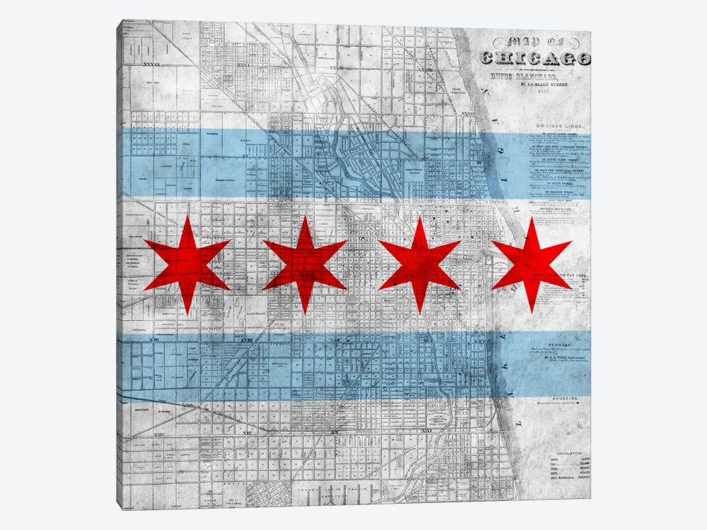 Chicago City Flag (Vintage Map) 1-piece Art Print