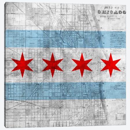 Chicago City Flag (Vintage Map) Canvas Print #FLG32} by iCanvas Canvas Print