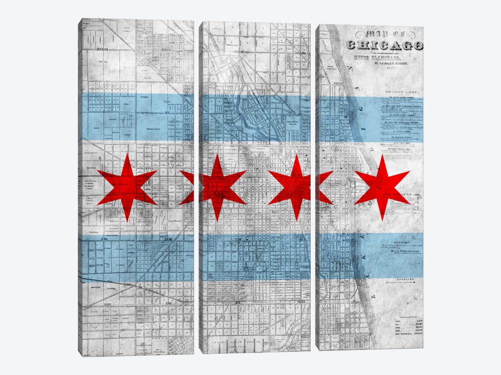 Chicago City Flag (Vintage Map) by iCanvas 3-piece Canvas Print