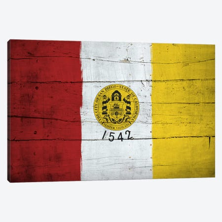 San Diego, California City Flag on Wood Planks Canvas Print #FLG338} by iCanvas Canvas Wall Art