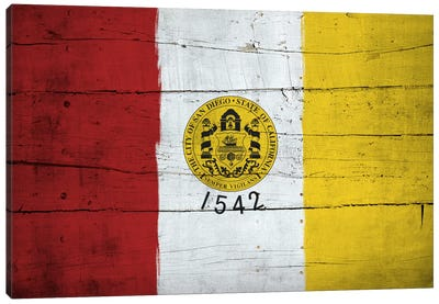 San Diego, California City Flag on Wood Planks Canvas Art Print