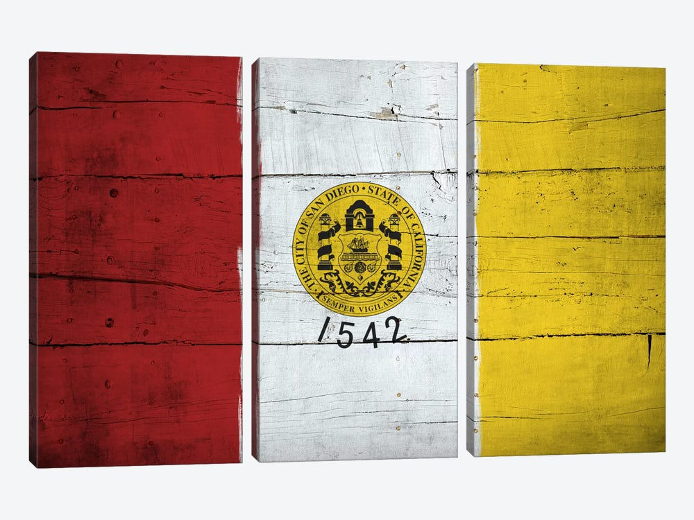 San Diego, California City Flag on Wood Planks 3-piece Art Print