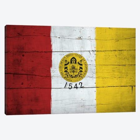 San Diego, California City Flag on Wood Planks Canvas Print #FLG338} by iCanvas Canvas Wall Art