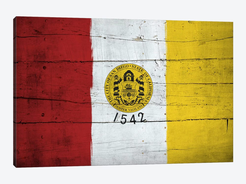 San Diego, California City Flag on Wood Planks by iCanvas 1-piece Art Print