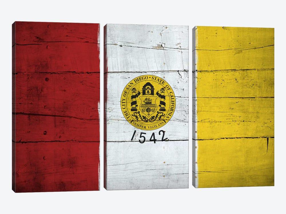 San Diego, California City Flag on Wood Planks by iCanvas 3-piece Art Print