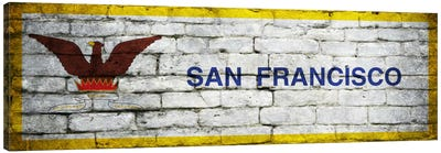 San Francisco, California City Flag on Bricks Panoramic Canvas Print #FLG339
