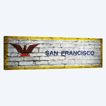 San Francisco, California City Flag on Bricks Panoramic Canvas Print #FLG339} by iCanvas Canvas Artwork