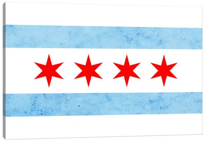 Chicago City Flag (Partial Grunge) Canvas Art Print