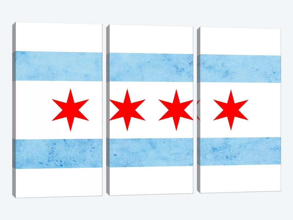 Chicago City Flag (Partial Grunge) by iCanvas 3-piece Canvas Artwork