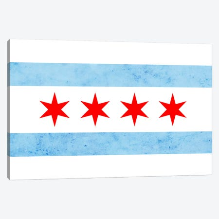 Chicago City Flag (Partial Grunge) Canvas Print #FLG33} by iCanvas Art Print