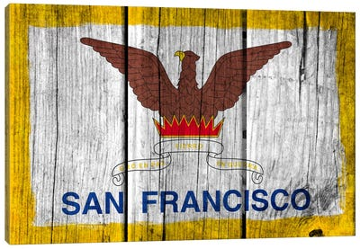 San Francisco, California Fresh Paint City Flag on Wood Planks Canvas Print #FLG346
