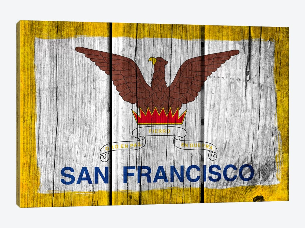 San Francisco, California Fresh Paint City Flag on Wood Planks by iCanvas 1-piece Canvas Artwork