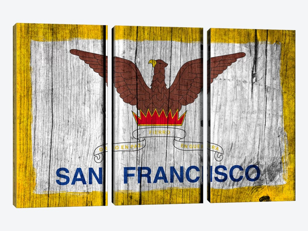 San Francisco, California Fresh Paint City Flag on Wood Planks by iCanvas 3-piece Canvas Wall Art