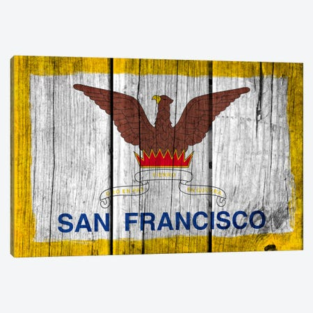 San Francisco, California Fresh Paint City Flag on Wood Planks Canvas Print #FLG346} by iCanvas Canvas Wall Art