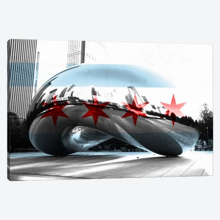 Chicago City Flag (Cloud Gate aka The Bean) Canvas Print #FLG34} by iCanvas Canvas Art