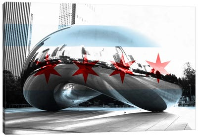 Chicago City Flag (Cloud Gate aka The Bean) Canvas Print #FLG34